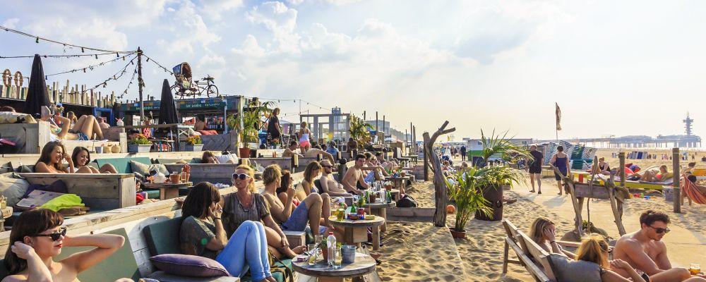 Netherlands, Den Haag, Scheveningen, Zwarte Pad. Beachclub Indigo
